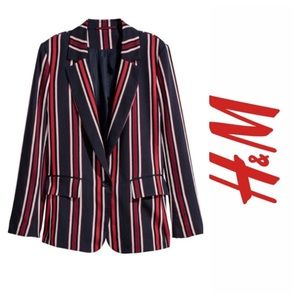 H&M Red Blue White Striped Blazer NWT Sz 12